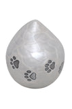 White Enamel Teardrop Urn with Silver Paw Prints - ETP15