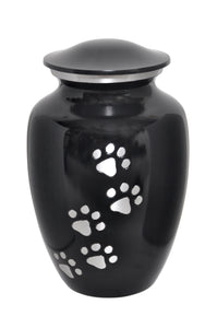 Black Urn with Silver Paw Prints - ETP04