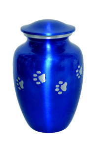 Blue Urn with Silver Paw Prints - ETP05