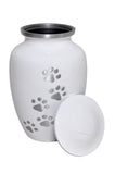 White with Silver Paw Prints Urn - ETP16