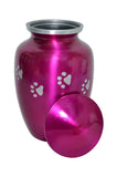 Pink Urn with Silver Paw Prints - ETP10