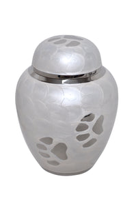 Pearl White Enamel with Silver Paw Prints Urn - ETP26