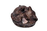 Rose Gold and Brown Angel Cat Urn - ETP27