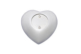 Silver Paw Print on White Heart Keepsake Urn - ETH42