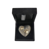 Golden Double Paw Slate Heart Keepsake Urn - ETH02