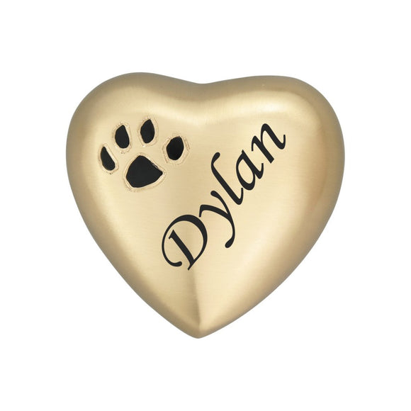 Personalised Paw Print Golden Heart Keepsake Urn - ETH03