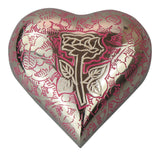 Rose Pink and Silver Heart Keepsake Urn - ETH06