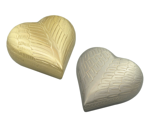 Guardian Angel Heart Keepsake Urn in Gold or Silver - ETH09