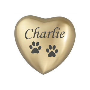Personalised Paw Heart Keepsake Urn in Gold or Silver - ETH10