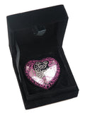 Teddy Heart Keepsake Urn in Pink and Silver - ETH17