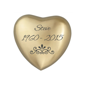Personalised Patterned Heart Keepsake Urn in Gold or Silver - ETH19