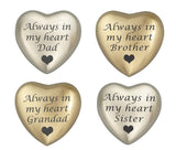 Always in my Heart Family Names Heart Keepsake Urn in Gold or Silver - ETH20