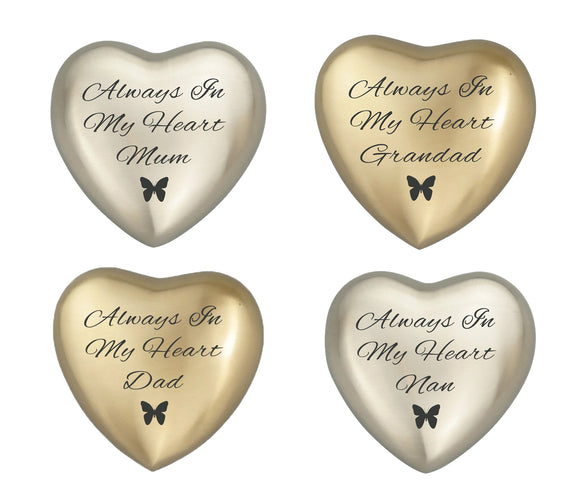 Always in my Heart Family Names Butterfly Heart Keepsake Urn in Gold or Silver - ETH21