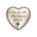 Always in my Heart Paw Heart Keepsake Urn in Gold or Silver - ETH22