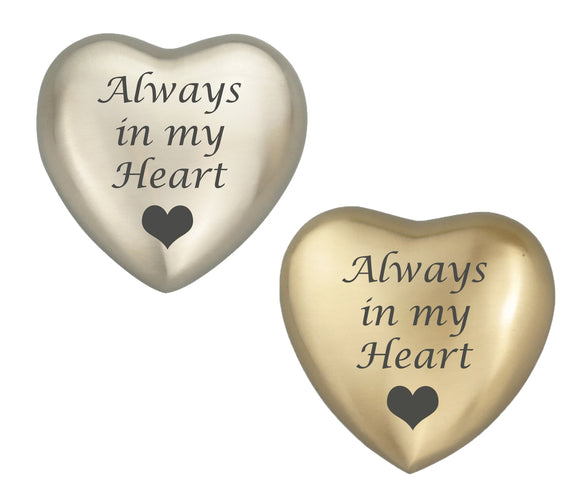 Always in my Heart Plain Heart Keepsake Urn in Gold or Silver - ETH33