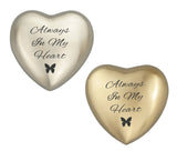 Always in my Heart Butterfly Plain Heart Keepsake Urn in Gold or Silver - ETH34
