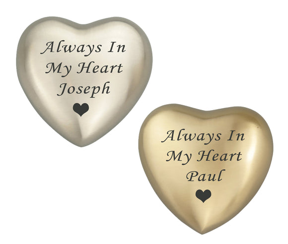 Always in my Heart Personalised Keepsake Urn in Gold or Silver - ETH35