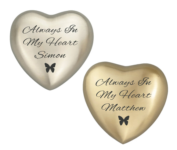 Always in my Heart Butterfly Personalised Keepsake Urn in Gold or Silver - ETH36