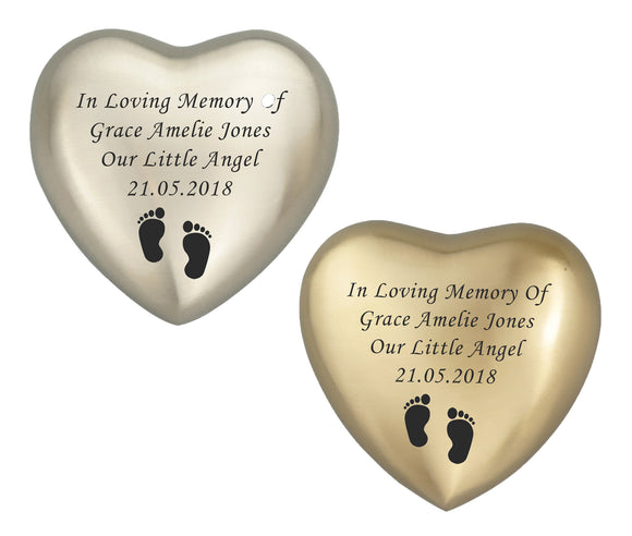 Baby in Loving Memory Personalised Keepsake Urn in Gold or Silver - ETH41