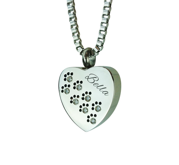 Paws on Heart Personalised Cremation Ashes Pendant - ETJ02