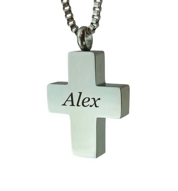 Personalised Cross Cremation Ashes Pendant - ETJ04