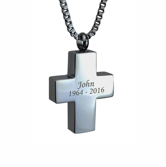 Personalised Cross Name and Dates Cremation Ashes Pendant - ETJ05