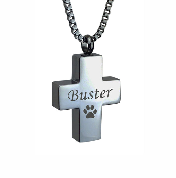 Personalised Paw Cross Cremation Ashes Pendant - ETJ06