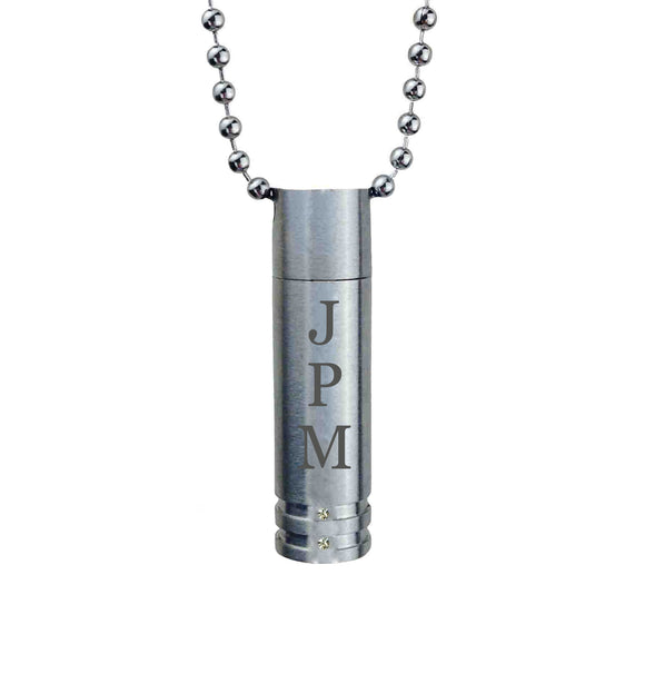 Personalised Crystal Cylinder Cremation Ashes Pendant - ETJ07