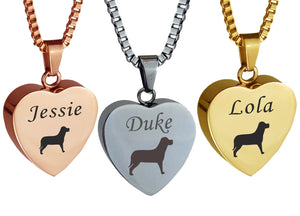 Personalised Dog Heart Cremation Ashes Pendant in Silver, Rose Gold & Gold Plated - ETJ11