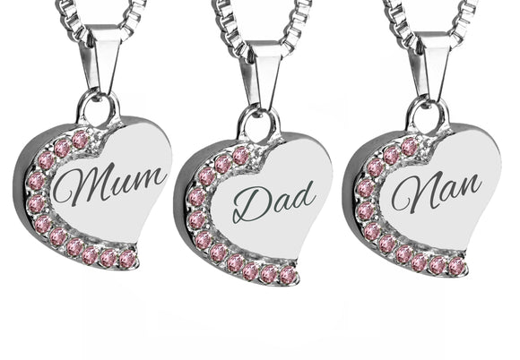 Heart with Pink Crystals Family Name Cremation Ashes Pendant - ETJ16