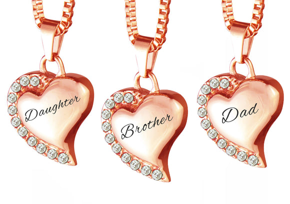 Rose Gold Heart with Crystals Family Name Cremation Ashes Pendant - ETJ17