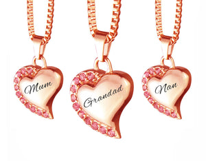 Rose Gold Heart with Pink Crystals Family Name Cremation Ashes Pendant - ETJ18