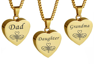 Gold Heart Family Name Cremation Ashes Pendant - ETJ19