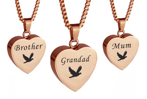 Rose Gold Dove Heart Family Name Cremation Ashes Pendant - ETJ20