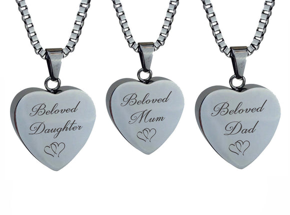 Silver Heart Entwined Family Name Cremation Ashes Pendant - ETJ21