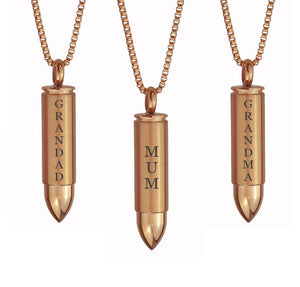 Rose Gold Bullet Family Name Cremation Ashes Pendant - ETJ23