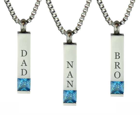 Quantum Blue Crystal Family Name Cremation Ashes Pendant - ETJ26