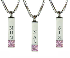 Quantum Pink Crystal Family Name Cremation Ashes Pendant - ETJ27