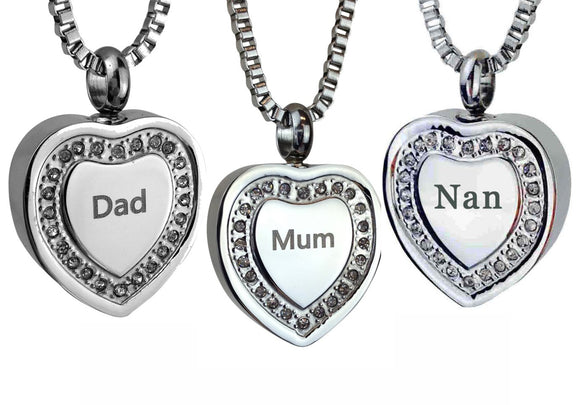 Crystal Heart Family Name Cremation Ashes Pendant - ETJ28