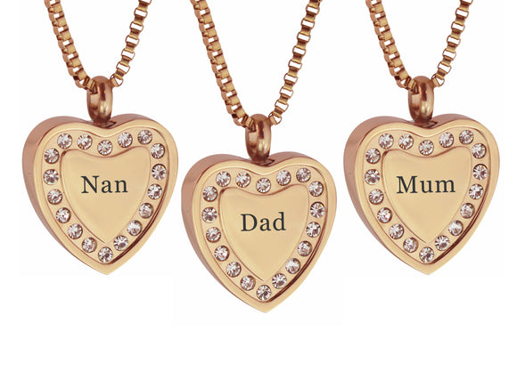 Crystal Rose Gold Heart Family Name Cremation Ashes Pendant - ETJ29