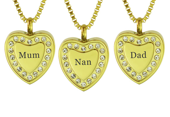 Crystal Gold Heart Family Name Cremation Ashes Pendant - ETJ30