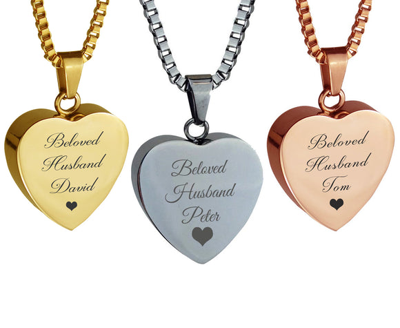 Personalised Beloved Husband Heart Cremation Ashes Pendant in Stainless Steel, Rose Gold & Gold Plated - ETJ35