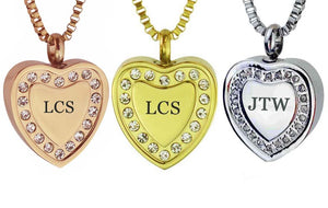 Personalised Crystal Heart Cremation Ashes Pendant in Stainless Steel, Rose Gold & Gold Plated - ETJ36