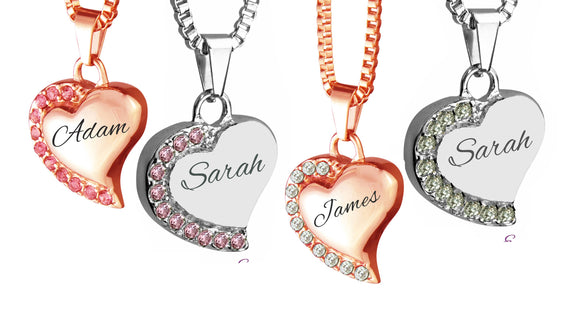 Personalised Heart with Crystals Cremation Ashes Pendant in Stainless Steel & Rose Gold - ETJ34