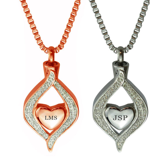 Personalised Diamond Heart Cremation Ashes Pendant in Stainless Steel & Rose Gold - ETJ41