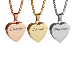 Personalised Heart Cremation Ashes Pendant in Stainless Steel, Rose Gold & Gold Plated - ETJ44