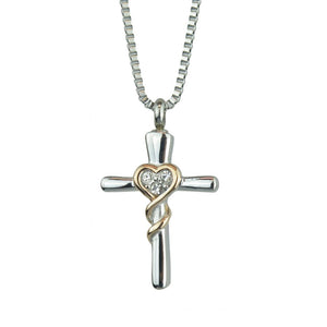 Crystal Cross Cremation Ashes Pendant - ETJ48