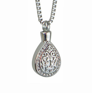 Crystal Teardrop Cremation Ashes Pendant - ETJ57