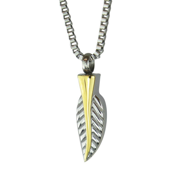 Golden Feather Cremation Ashes Pendant - ETJ60