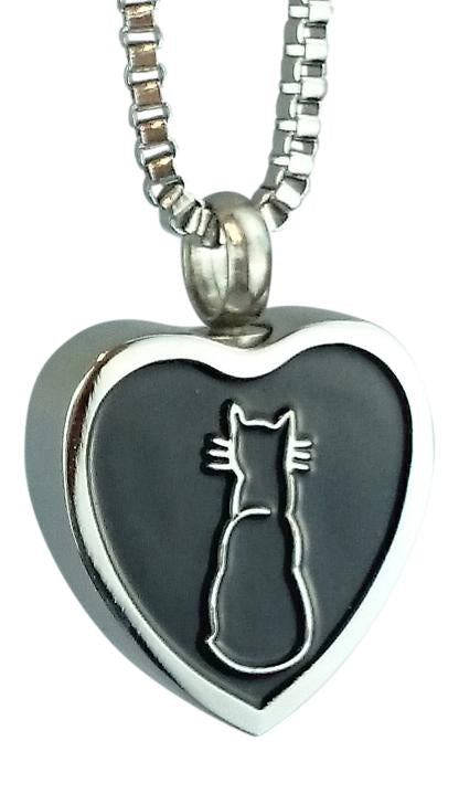 Cat Heart Cremation Ashes Pendant - ETJ61
